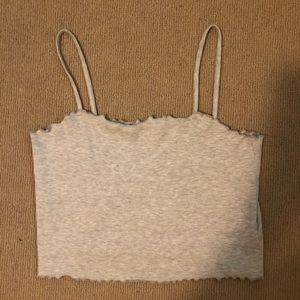 Ribbed Crop Top with Scalloped Edges